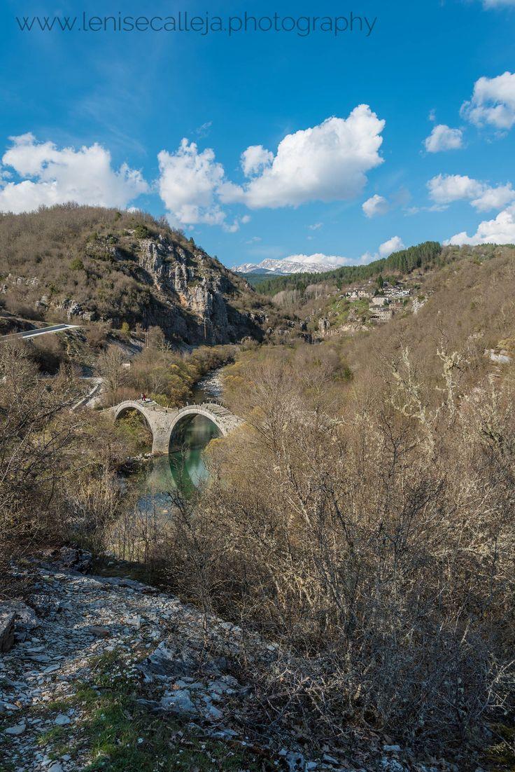 View over Kipoi its stone bridges and the Zagori Mountains in Greece
