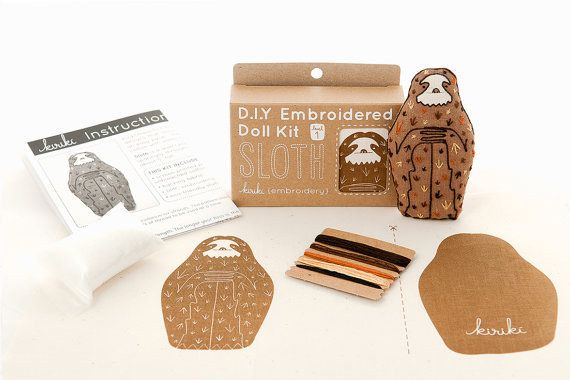 While away your lazy hours with a sloth embroidery kit.