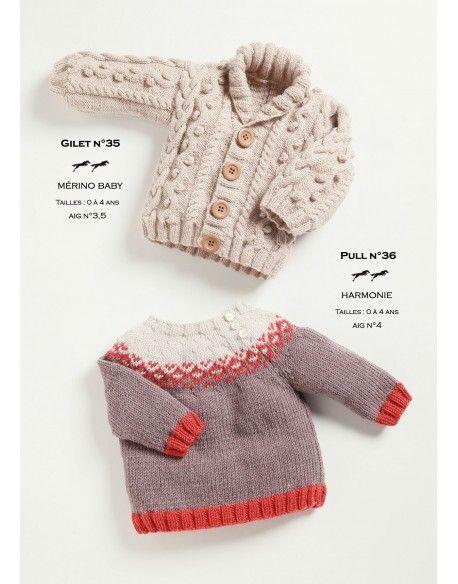 Modèle gilet et pull CB21-35-36- Patron tricot gratuit