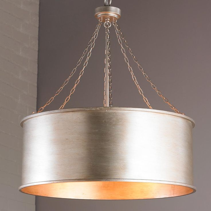 Luxe Patina Metal Drum Shade Pendant - Large Possibly for the entry or over the island in the kitchen