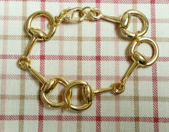 Gold Horse Bit Bracelet-Lucky Pony Shop #horsebitbracelet#luckyponyshop equestriangift https://www.etsy.com/listing/220092274/gold-snaffle-horse-bit
