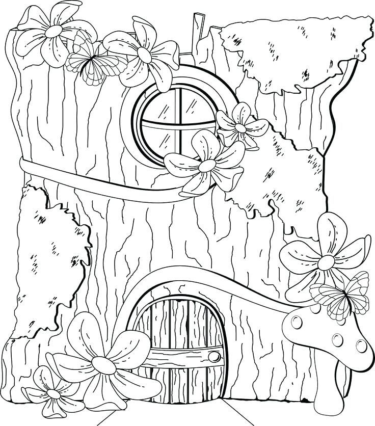 736x836 Fairy House Coloring Pages Color By Numbers Town Fairy