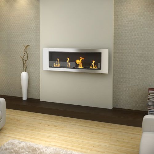 AQUARIA DELUXE Wall Mounted Bio Ethanol Fireplace - 4 Burner