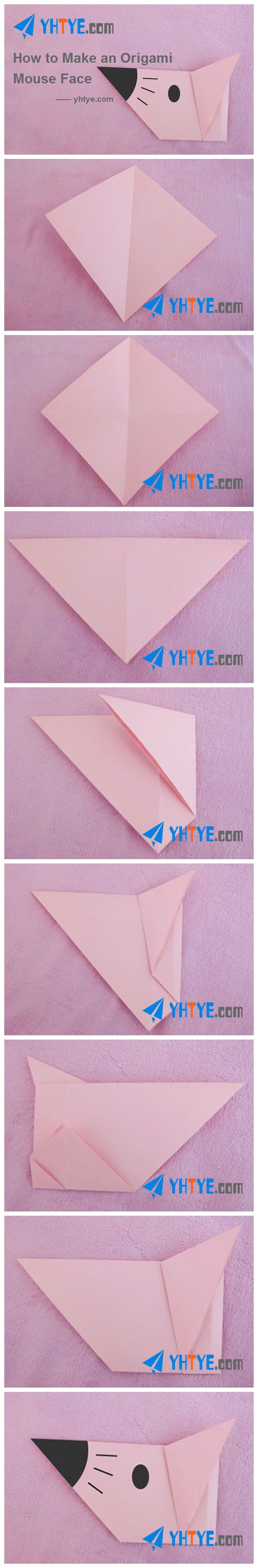 31 best origami animal face images on pinterest origami how to make an origami mouse face jeuxipadfo Choice Image