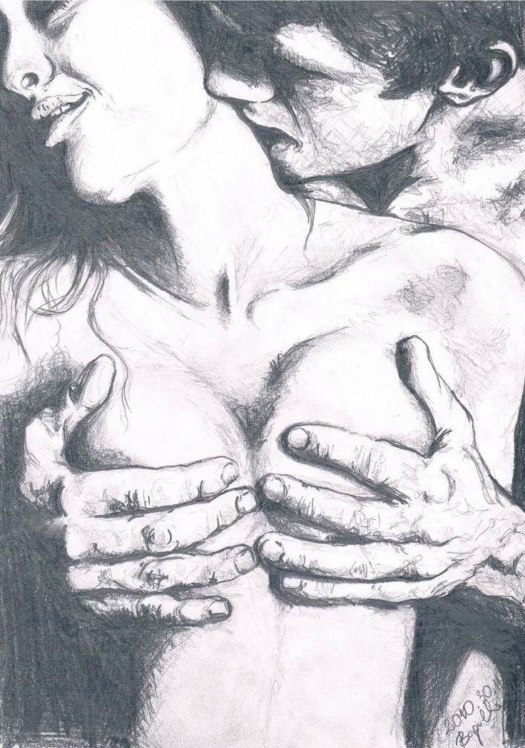 girl kissing naked drawing