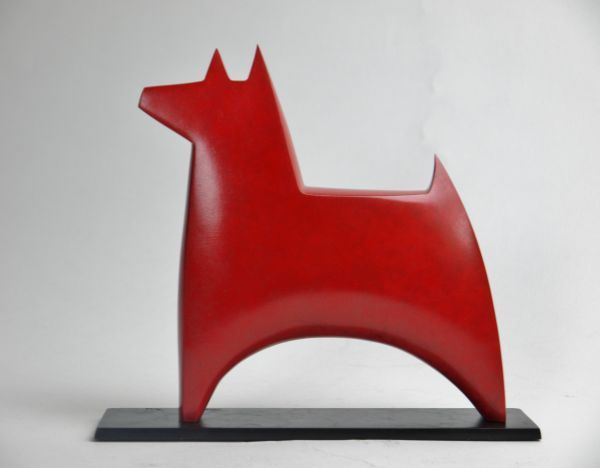 Bronze Dog sculpture by artist Stephen Page titled: 'Dogstar (Little bronze Standing Minimalist Dog sculptures/statues)'