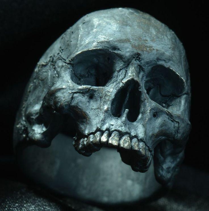 Skull Ring Mid-size half jaw silver mens ring skull biker masonic jewelry 925 eb #IntoTheFireJewelry #SkullRingBiker