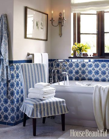 135+ Ways To Make Any Bathroom Feel Like An At Home Spa. Blue White ...