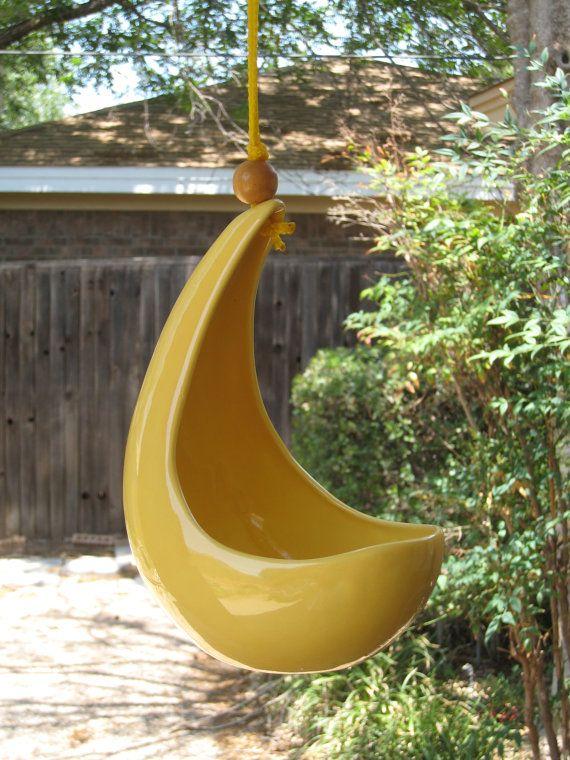 Mid Century Modern Ceramic Hanging Bird Feeder by WestTexasVintage, $19.00