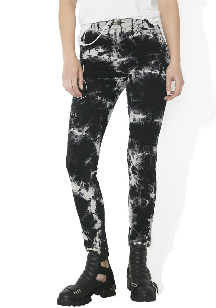 Tripp NYC High Waisted Tie-Dye Pants cuz yer kinda socially distorted, babe...These dope af pants feature a stretchy denim construction, allover black N' gray tie-dye pattern, classic 5-pocket design with skully hardware and zipper fly closure.