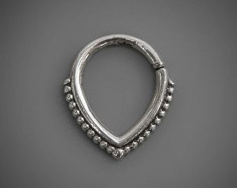 Tribal Septum Ring, Sterling Silver Septum Jewelry, Nose Ring For Pierced Nose, Tear Drop, Indian Nose Jewelry