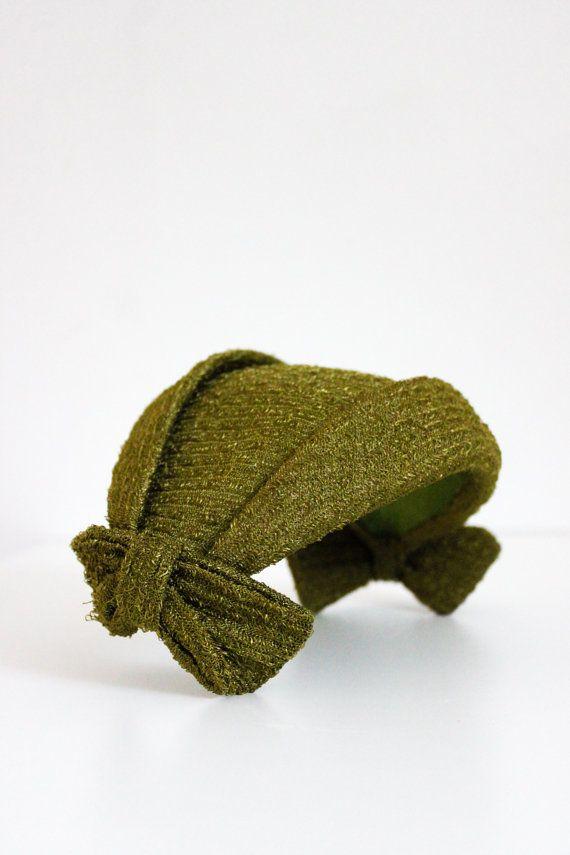 Green Linen Hat. 1950's Mid Century Tilt Hat by SalvatoCollection, $38.50
