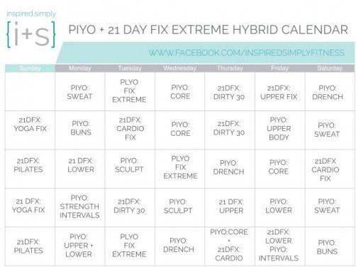 Free 21 Day Fix Extreme And Piyo Hybrid Workout Calendar Dietworkout 21 Day Fix Extreme Workout Calendar 21 Day Fix Workouts
