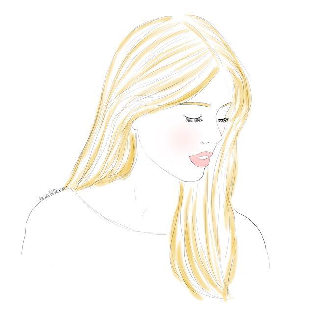 portraits personnalisés numériques digital portrait art illustration drawing sweetness pretty girl blonde gold pastel