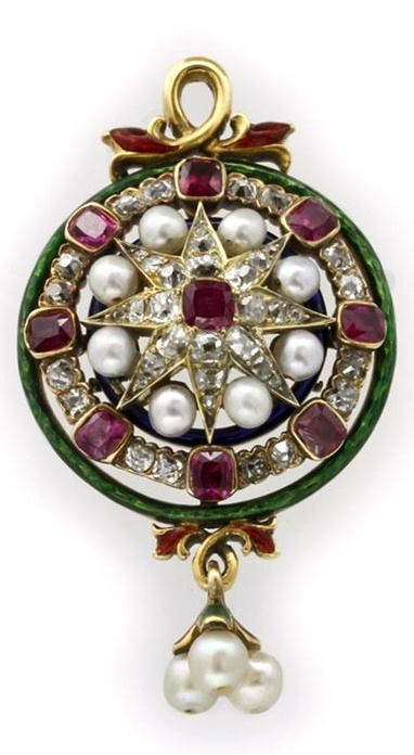 A CIRCULAR RUBY, DIAMOND, PEARL AND ENAMEL PENDANT A Neo-Renaissance circular ruby, diamond, pearl and enamel pendant, the central cushion shaped faceted ruby set to the centre of an old brilliant-cut diamond encrusted yellow gold 8-point star, set with pearls, rubies and diamonds, set between green and blue guilloche enamel surrounds, all suspended from a yellow gold foliate design, surmounting a three pearl drop, all stones set to yellow gold, gross weight 13.8 grams, circa 1850