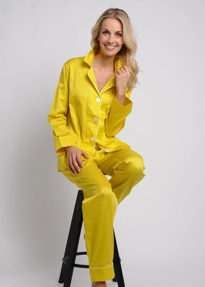 Women's Egyptian Cotton Pajamas- Citrine $178 #cottonpajamas #olist #madeintheusa #bestpajamas #luxurypajamas #pajamas