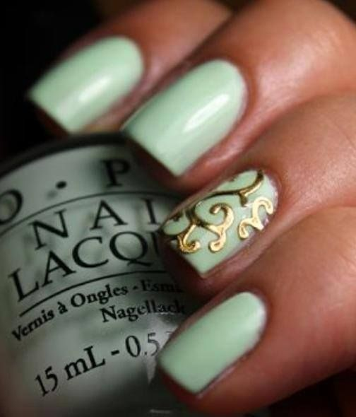 Mint Green Prom Nail: Seafoam Mint Green & Gold Classy And Simple Nail Design