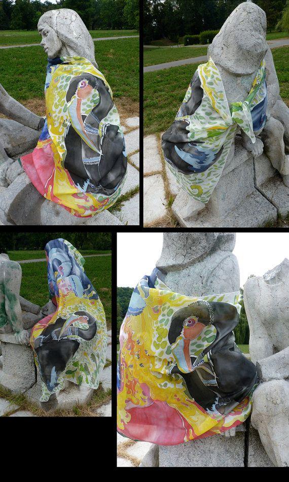 Hand Painted Silk Scarf Large Silk Scarf Fantastic by dagamara