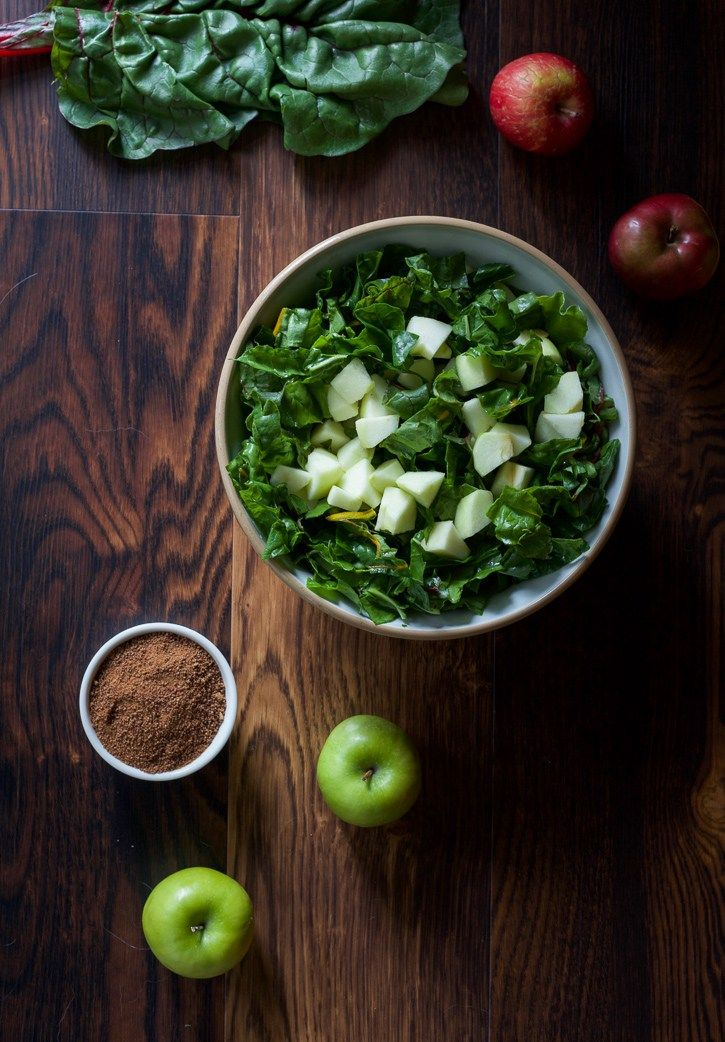 Apples and Swiss Chard in Bowl