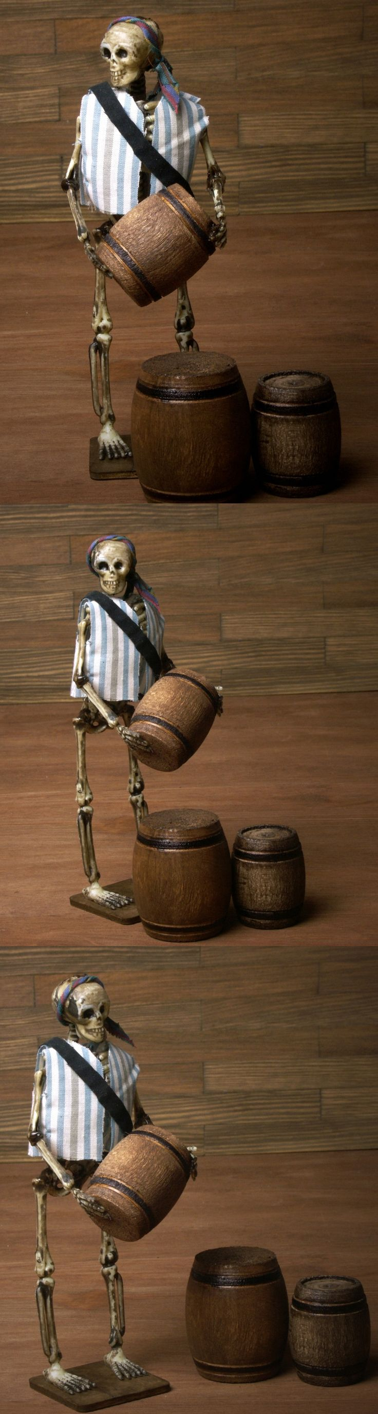 Miniature Skeleton Pirate with Barrels for your Dollhouse or Miniature Halloween Scene by DinkyWorld on Etsy