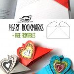Corner Heart Bookmark  Follow these easy instructions for a handy bookmark.  If you put a small magnet on each underside of the bookmark, it will stay on the corner when the book gets thrown around.  (Use an old refrigerator magnet like those a business gives you.)