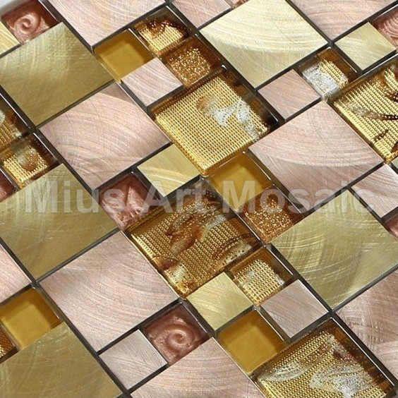 Glass mosaic mixed gold aluminium alloy mosaic kitchen tile  metal mosaic A1L012 - ICON2 Luxury Designer Fixures  Glass #mosaic #mixed #gold #aluminium #alloy #mosaic #kitchen #tile # #metal #mosaic #A1L012