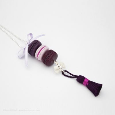 Bijoux fantaisies gourmands - Collier triade de macarons Capucine