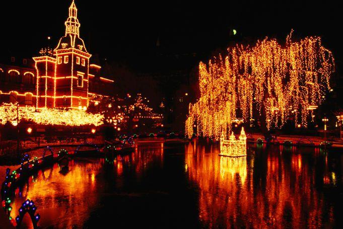 Lake in Tivoli Gardens (illuminated for Christmas Market)