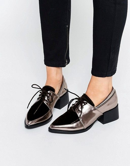 Misplaced Ink | Misplaced Ink Jive Metallic Lace Up Level Flat Footwear