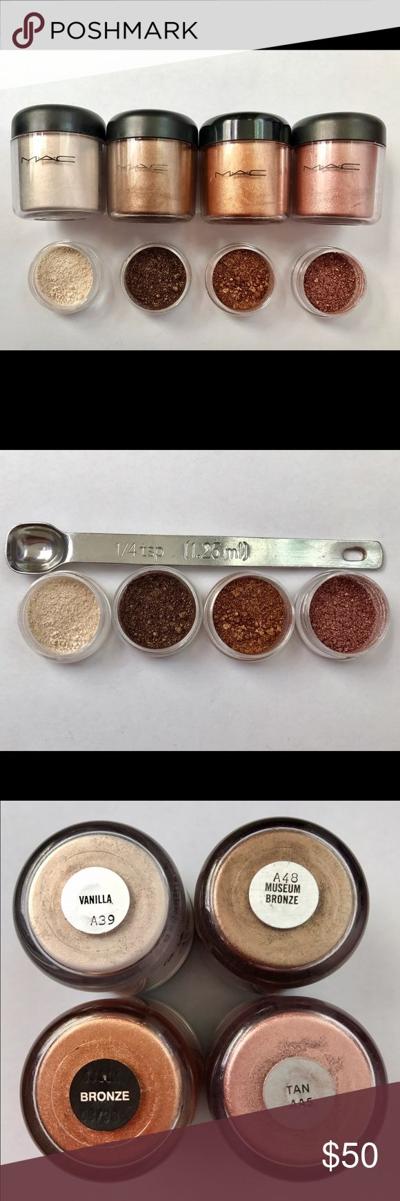 Rare MAC  Sample Set 100% Authentic (1/4 teaspoon 🍂This MAC Pigment  sample set includes 1/4 teaspoon of each of the following pigments: Vanilla, Bronze, Tan, Museum Bronze, ! This is a perfect way to try out Authentic MAC Pigments without spending a fortune on them. These Pigments are perfect for any occasion! Get them while they last! SHIPS THE NEXT DAY! Pigments come in 3g BPA Free jars! MAC Cosmetics Makeup Eyeshadow