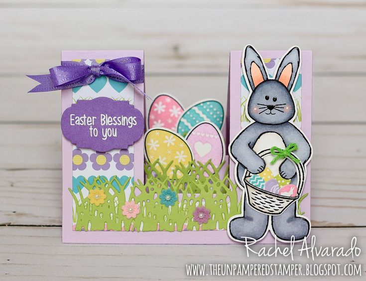 Easter card that I made using bunny stamps and dies designed by Stephanie Barnard at The Stamps of Life. Step-ups base card die set by Sizzix.