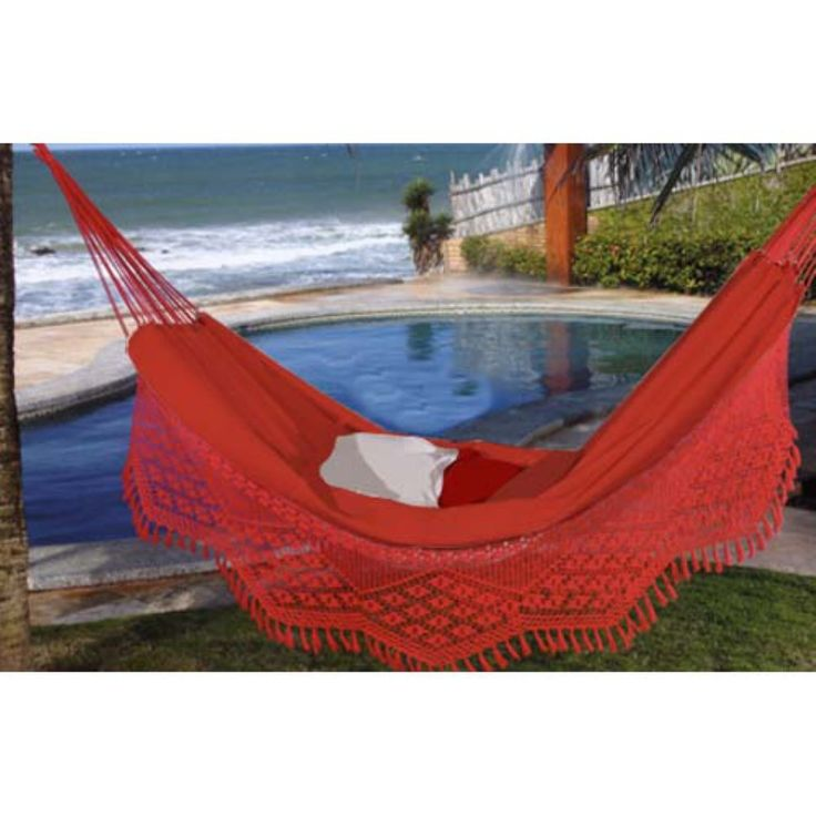 Large Caliente Brazilian Hammock with Fringe - The Large Caliente Brazilian is the epitome of comfort, beauty, and strength, with a dash of summer fire, minus the heat. Brazilian Hammocks combine u...
