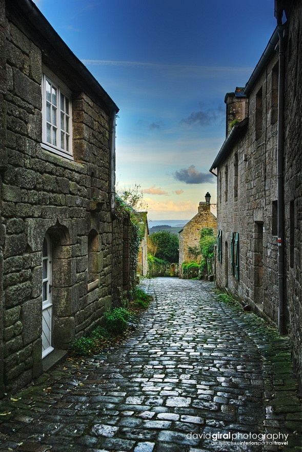 Beautiful old street of the village of Locronan, located in Finistere, Brittany, France