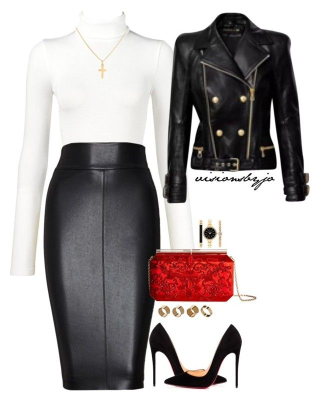 """Untitled #1693"" by visionsbyjo on Polyvore featuring Wolford, Bailey 44, Oscar de la Renta, Christian Louboutin, Sterling Essentials, Warehouse, Style & Co. and Balmain"