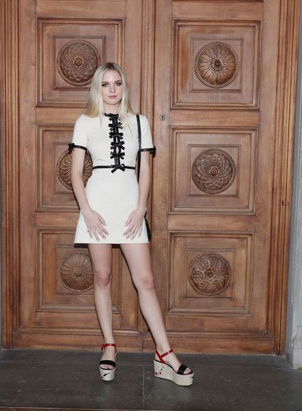 Stella Banderas-Griffith Mini Dress - Stella Banderas-Griffith kept it youthful yet sexy in a super-short Gucci LWD with multiple bow accents during the label's Cruise 2018 show.