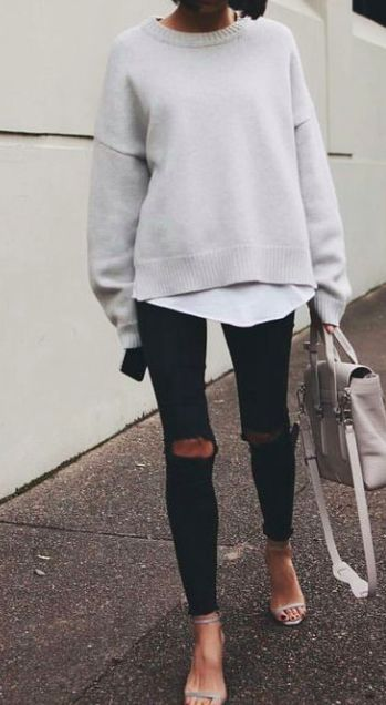 crewneck sweaters + ripped denim