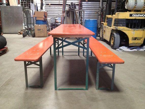 German Beer Garden Table w 2 benches  All Folding. 19 best Beer Garden Furniture images on Pinterest