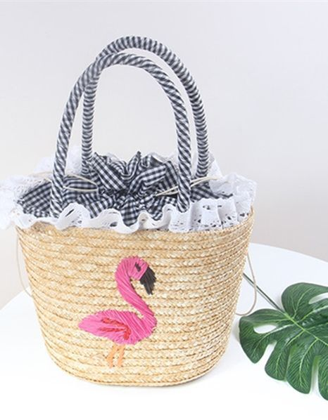 Women s Pink Flamingo Crochet Straw Handbag This darling Women s Pink  Flamingo Crochet Straw Handbag features a cute pink flamingo embroidered on  the front. f7612d7dc3