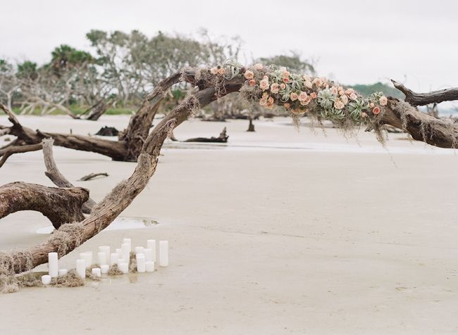 Jekyll Island Driftwood Beach Bridal Portraits Beach Bridal Beach Wedding Arch Beach Wedding