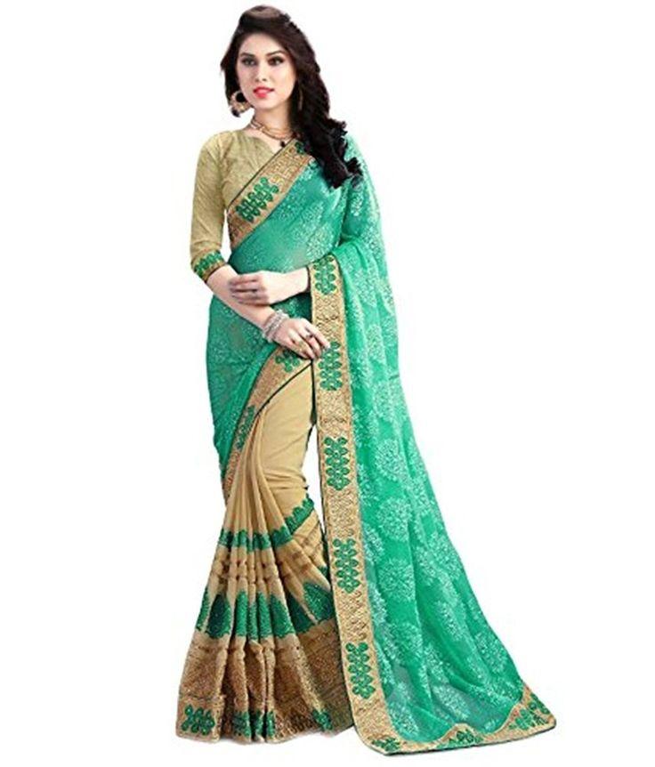 Indian Fashionista Designer Georgette Half Half Embroidered Saree for Women (Color : Green, Beige )