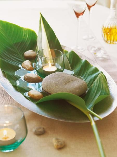Nature inspire indoor water pond on large leaf with rock and candle simple minimal entertaining pretty with nature help diy