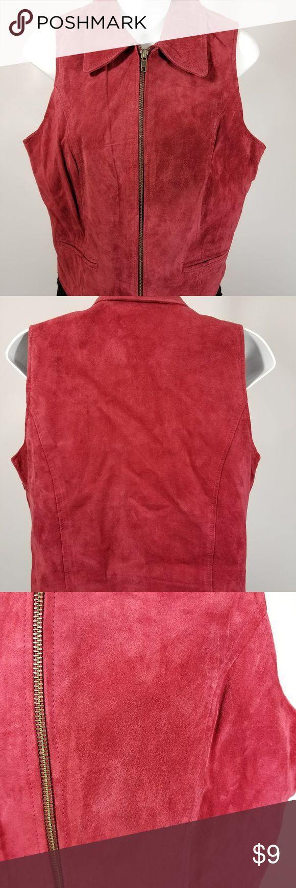"Hunt Club Women Suede Red Vest Zipper Closure Hunt Club Women Suede Red Vest Zipper Closure some discoloration on front Sz 8  MEASUREMENTS:  (approximate) Shoulder to hem - 20.5""  pit to pit - 18.5""  Hem Width - 17.25"" Sleeve Length - 0"" Hunt Club Jackets & Coats Vests #vestswomens"