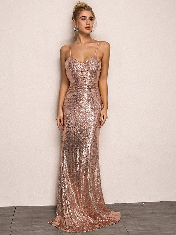 Joyfunear Open Back Sequin Cami Dress Shein Sheinside Maxi Dress Prom Dresses Prom Dresses