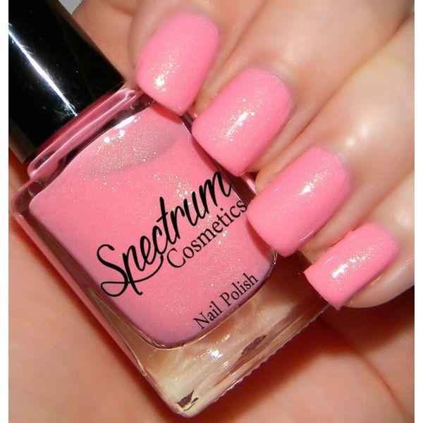 Peony Pastel Pink Spring Nail Polish ($4) ❤ liked on Polyvore featuring beauty products, nail care, nail polish, bath & beauty and grey