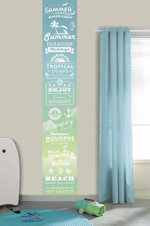 Fresh blue and yellow add to the summery feel of the text on this wallpaper mural. From the Trendy Panels collection, Summer TDP64606068. This is a Guthrie Bowron exclusive range in NZ.