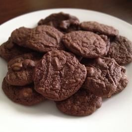 Cocoa Powder Cookies- Only cocoa powder needed- no chocolate chips.  I'm out of chocolate chips so I'm doing this today.  I added a little extra cocoa and some honey.  the brand of cocoa matters, I think.