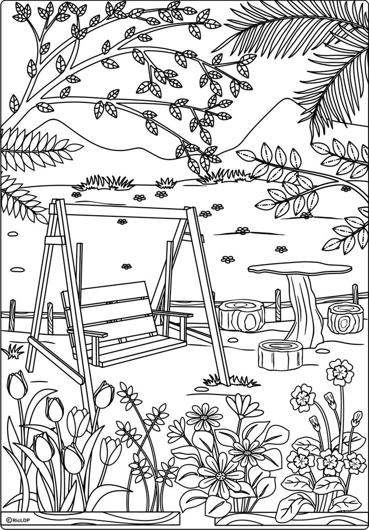 at the park coloring page