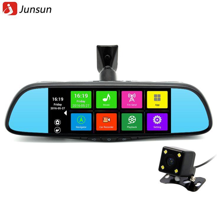 """Junsun 7 """"タッチ特別車dvrカメラミラーgpsブルートゥース16ギガバイトアンドロイド4.4デュアルレンズfhd 1080 pのビデオレコーダーダッシュカム"""