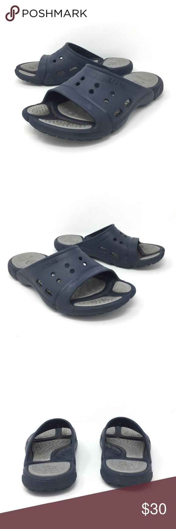 Crocs Slide Sandals Sz 9 women's blue silver Crocs Slide Sandals Navy Blue & Silver Unisex Sz 7 Men's 9 Women's Garden Beach  Size: Men's Size 7 Women's Size 9 Color: Navy Blue and Silver  In good preowned condition with no known flaws and light overall wear. CROCS Shoes Sandals