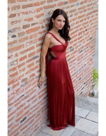 Red Straps Ruching Bodice Long Chiffon Celebrity Prom Dress